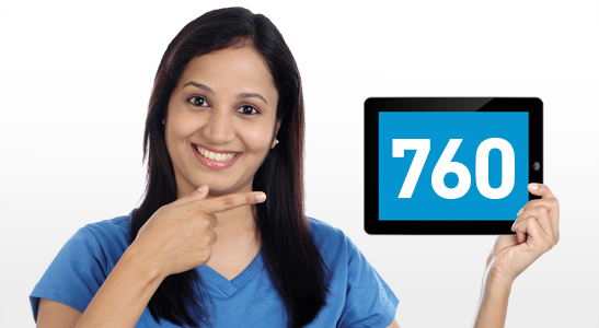 "Woman holding a tablet, screen displaying the number ""760""."