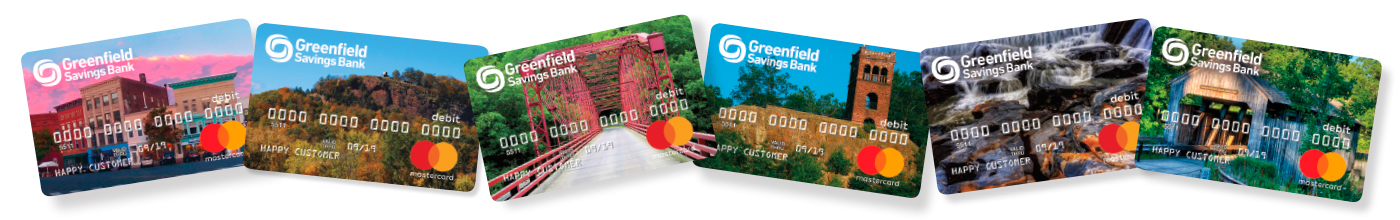 Greenfield Savings Bank scenic debit cards. Downtown Northampton, Mount Sugarloaf, Bardwell's Ferry Bridge, Poet's Seat, Shelburne Falls Glacial Potholes, Conway Covered Bridge