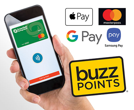 Cell phone, mobile wallet icons, Buzz Points logo.