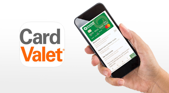 CardValet app icon, hand holding cell phone displaying Greenfield Savings Bank debit card.