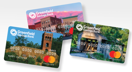 Three debit card images, Poet's Seat, Downtown Northampton, Conway Covered Bridge.