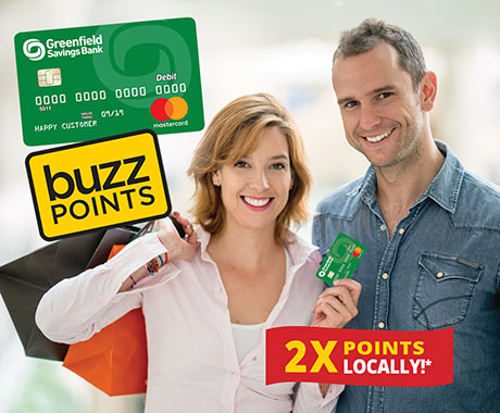 GSB debit card, Buzz Points logo, man & woman holding debit card, 2X Points Locally!*