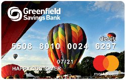 Hot air balloon picture on a Greenfield Savings Bank Debit Card