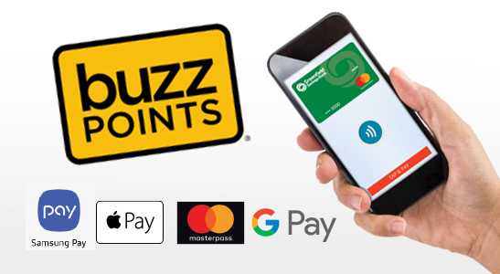 Buzz Points logo, hand holding cell phone displaying Greenfield Savings Bank Debit Card, Samsung Pay, Apple Pay, Masterpass, Google Play logos