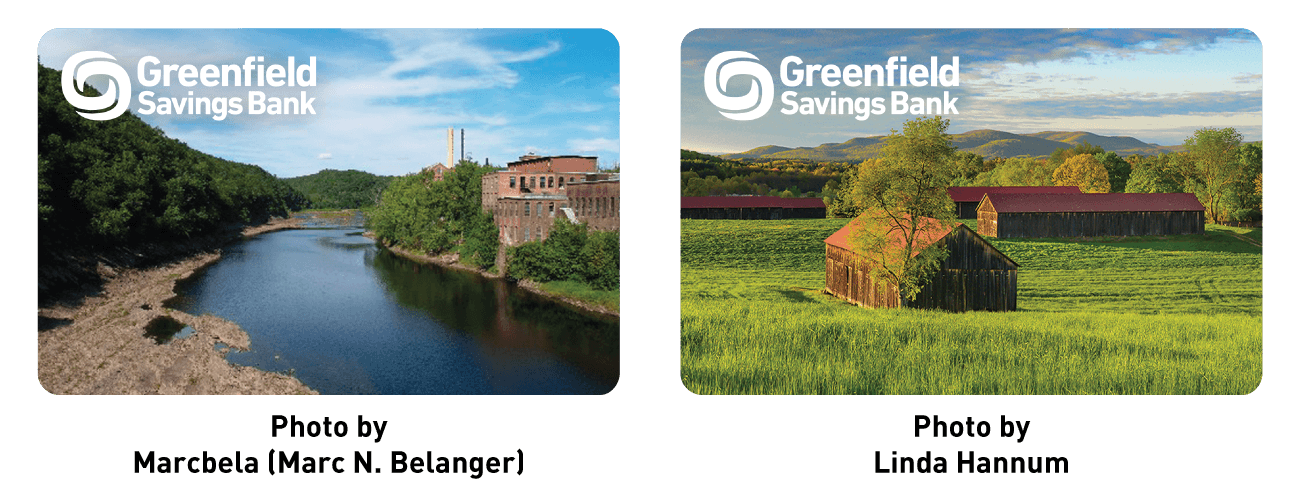 Greenfield savings bank logo on a photo of the Connecticut River behind old paper mill, Photo by Marcbela (Marc N. Belanger). Greenfield savings bank logo on a photo of barns in a field, Photo by Linda Hannum.