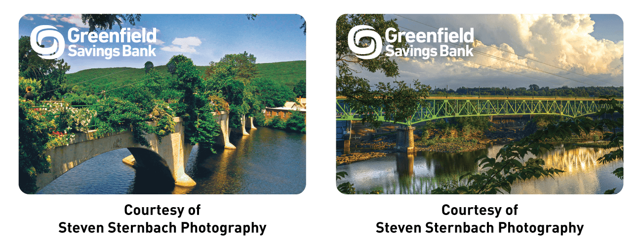 Greenfield Savings Bank Logo on an image of the Bridge of Flowers, Courtesy of Steven Sternbach Photography. Greenfield Savings Bank logo on an image of the Gill/Turners Bridge, Courtesy of Steven Sternbach Photography.