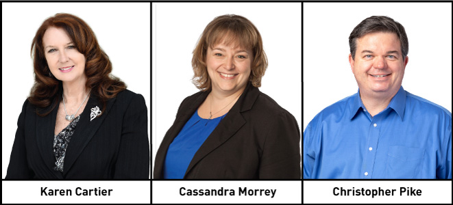 Announcing the promotions of Karen Cartier, Cassandra Morrey, and Christopher Pike.