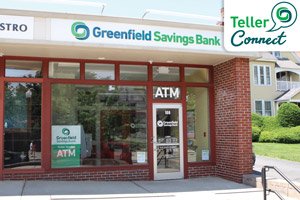 Greenfield Savings Bank Downtown Amherst Branch, Teller Connect Logo in top right corner