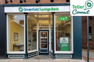 Greenfield Savings Bank Downtown Northampton Branch, Teller Connect Logo in top right corner